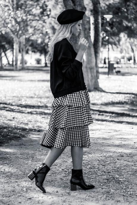 BLACK BERET & VICHY SKIRT