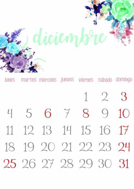 Imprimible: Calendario Diciembre 2017