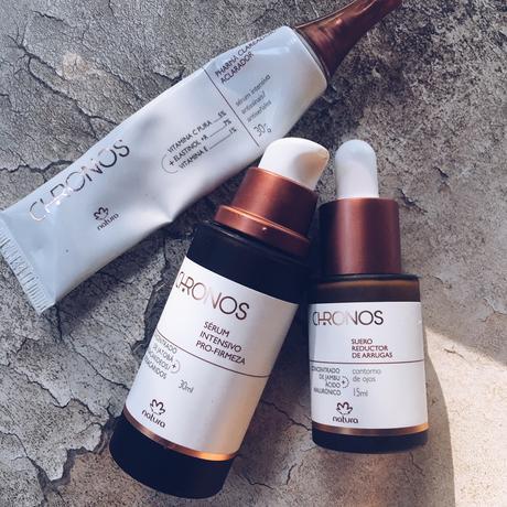 Sueros Chronos: Pro Firmeza, Pharma Clareador y Reductor de Arrugas.