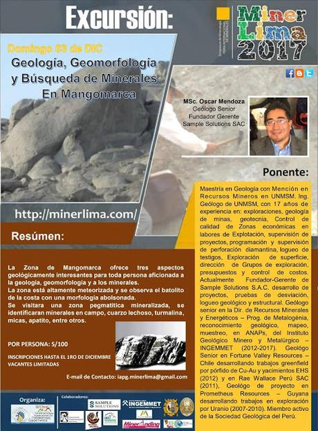 #MinerLima2017 Domingo 19 NOV Excursión Geológica: en Búsqueda de Minerales en Mangomarca