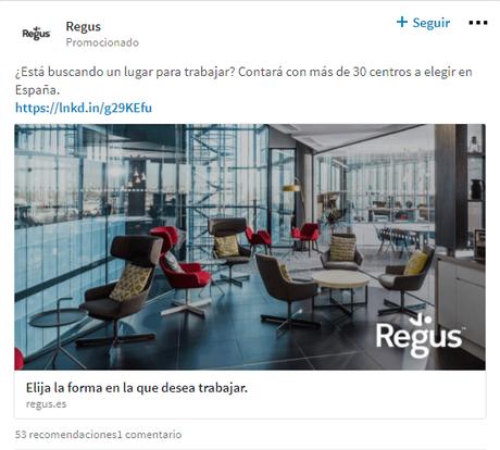 Imagen de ejemplo de una publicación patrocinada en LinkedIn Ads