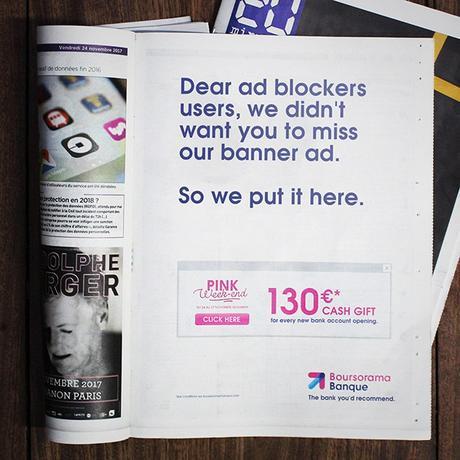 """Este banco """"trolea"""" a los ad blockers imprimiendo su banner en un periódico"""