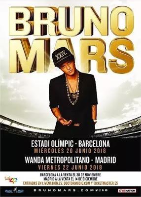 Bruno Mars actuará en estadios de Barcelona y Madrid