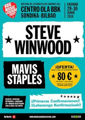 El BBK Music Legends Fest 2018 confirma a Steve Winwood y Mavis Staples