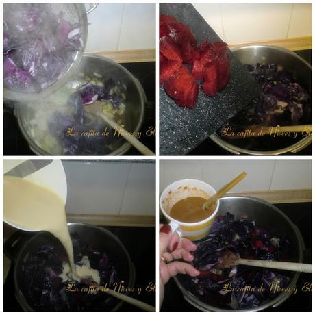 Crema de lombarda y remolacha con lagostinos