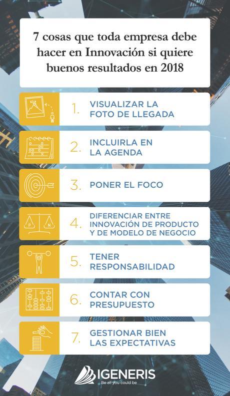 Infografía: 7 cosas que debes hacer en Innovación si quieres buenos resultados en 2018.