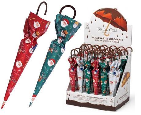 Botellas y paraguas de chocolate