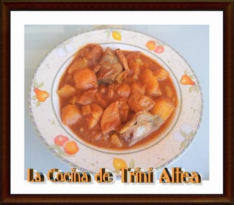 GUISO CON ALCACHOFAS Y PATATAS