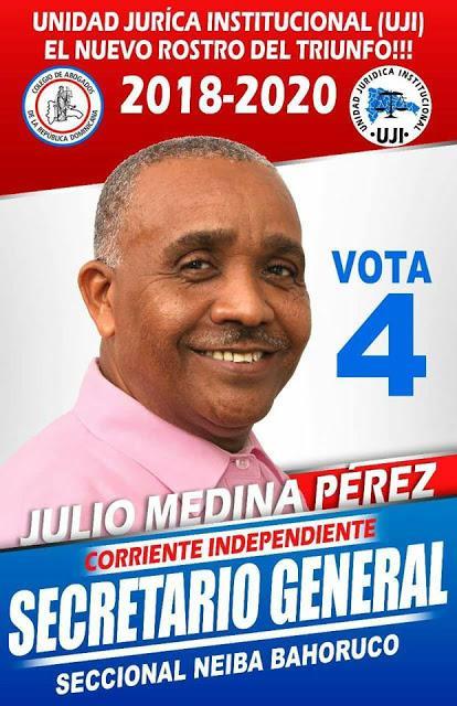 Con el 63.44% gana Rojo Secretaría General abogados Bahoruco.