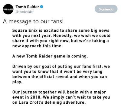 Confirmado el nuevo videojuego de Tomb Raider para 2018