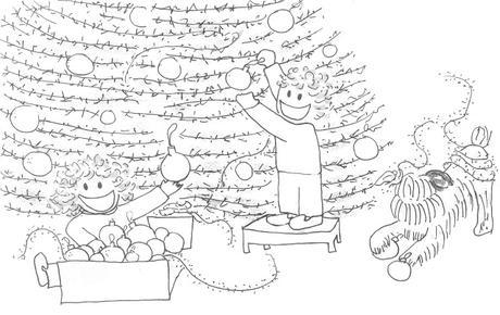 Ilustración de Tina y Leo decorando el árbol de Navidad