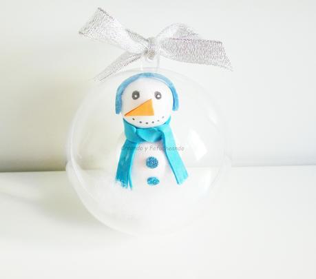 Paso a paso:  Bola navideña con Muñeco de Nieve . Colaboración @creandoyfofucheando
