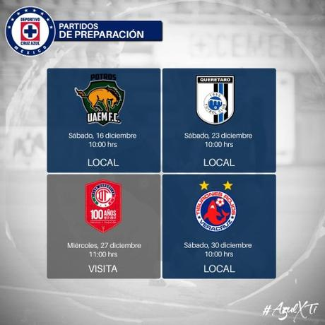 Partidos de Pretemporada del Cruz Azul para el Clausura 2018