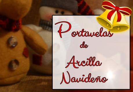 Portavelas navideño de arcilla