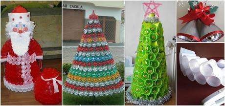 Haz lindos adornos navide os con botellas y vasos for Adornos navidenos reciclados botellas