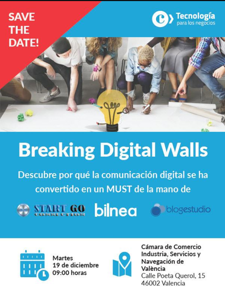 La Cámara de Valencia acogerá la jornada Breaking Digital Walls