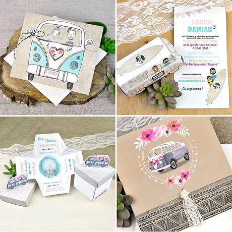 Invitación de boda furgoneta hippie