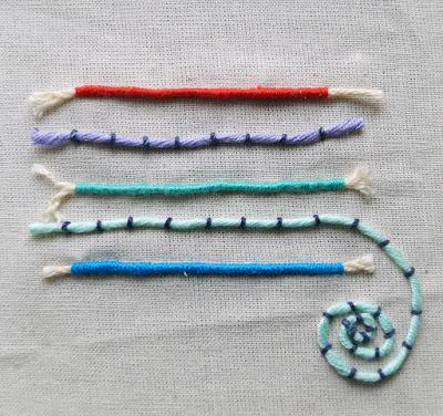 Puntos de bordado: punto de cuerda o línea de realce / Embroidery stitches: couching stitch