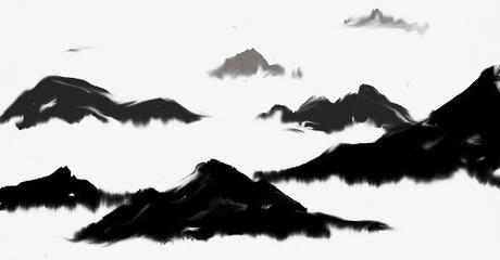 Tinta de la pintura de paisaje en blanco y negro, Pintura En Blanco Y Negro, La Pintura De Paisaje, Tinta Imagen PNG