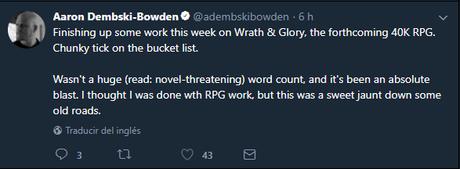 Aaron Dembski Bowden en W40K Wrath & Glory RPG