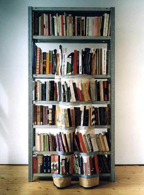 Camuflaje en una estantería de libros