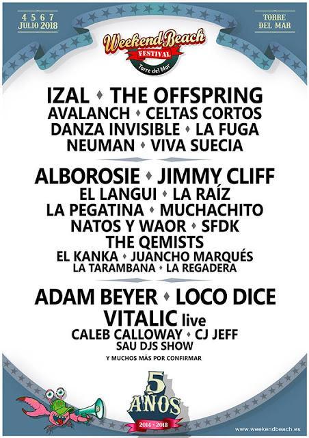 Weekend Beach Festival 2018: The Offspring, Jimmy Cliff, IZAL, Adam Beyer...