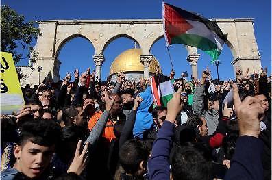 Manifestación en la mezquita de Al-Aqsa (Wafa, 8 de diciembre de 2017)