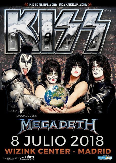 Megadeth, teloneros de Kiss en el WiZink Center de Madrid