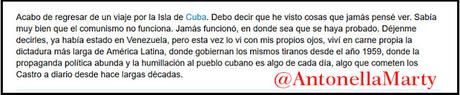 Asesora del Senado Argentino como falsa turista en Cuba