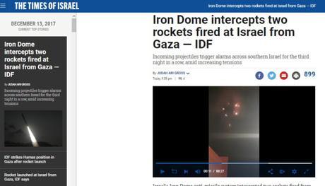 El Iron Dome intercepta dos misiles lanzados nuevamente desde Gaza contra Israel.