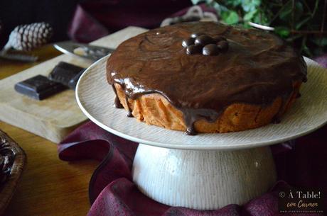 Bizcocho de Turrón de Jijona y cobertura de Chocolate