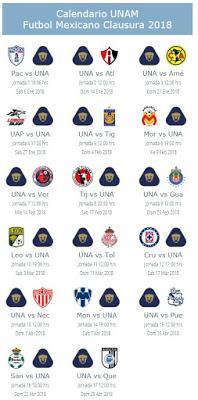 Calendario de Pumas para el Clausura 2018