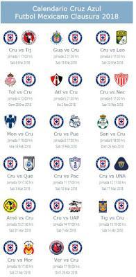 Calendario de Cruz Azul para el Clausura 2018