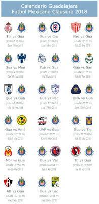 Calendario de Chivas para el Clausura 2018