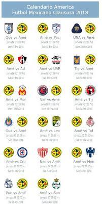 Calendario del América para el Clausura 2018