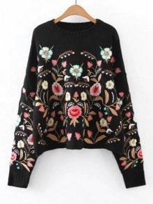 Suéter bordado floral de gran tamaño
