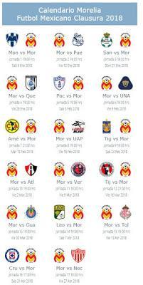 Calendario de Morelia para el Clausura 2018