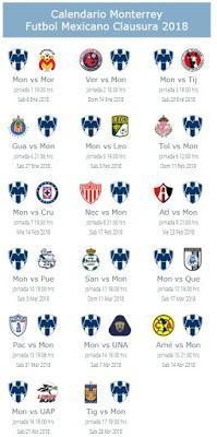 Calendario de Monterrey para el Clausura 2018