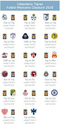 Calendario de Tigres para el Clausura 2018
