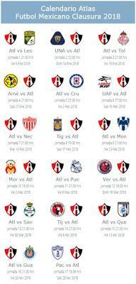 Calendario del Atlas para el Clausura 2018
