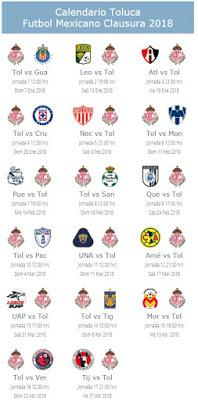 Calendario de Toluca para el Clausura 2018