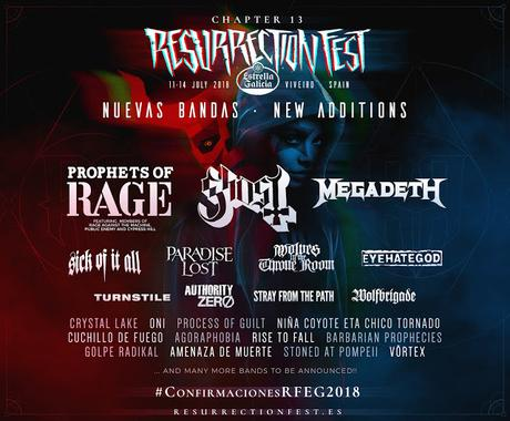 Resurrection Fest 2018: Prophets of Rage, Megadeth, Ghost, Sick of it All, Paradise Lost...