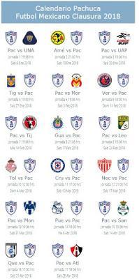 Calendario de Pachuca para el Clausura 2018