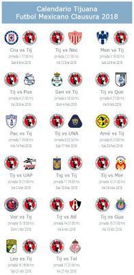 Calendario de Tijuana para el Clausura 2018