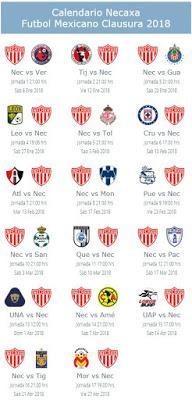 Calendario del Necaxa para el Clausura 2018