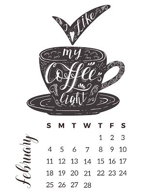 Calendario Para Colorear Con Temática De Café Gratis