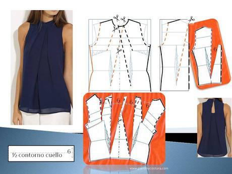Blusa con pliegues solapados.Tema 217