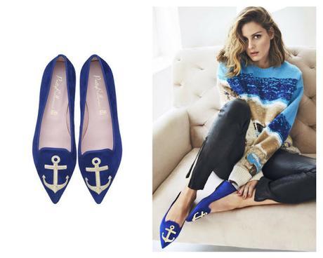 zapatos azul marinero ancha bailarinas mules olivia palermo