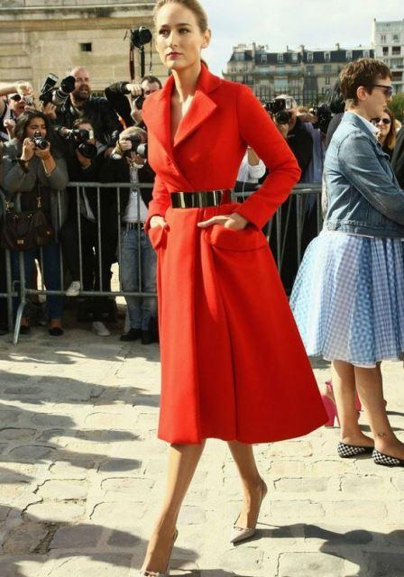 wrap coat rojo