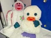 Dodo, patito sonajero, Mimo, monito marioneta simpático.